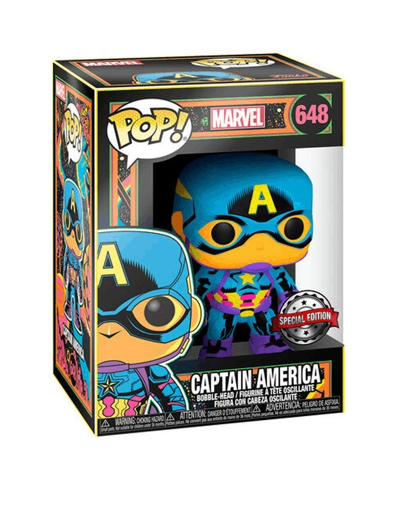 PREORDER! Funko POP Marvel - Captain America (Black Light), caixa