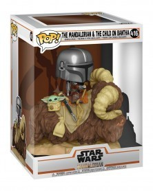 POP RIDES Star Wars - The Mandalorian - Mandalorian w/Child on Bantha, caixa