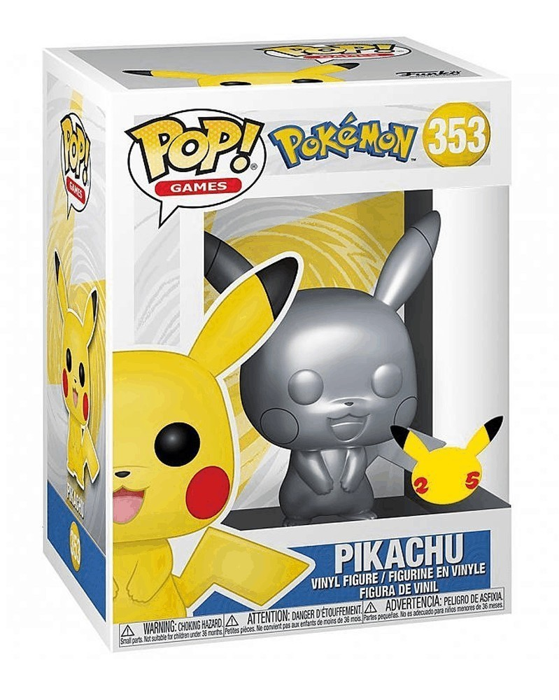 Funko POP Games - Pokémon - Pikachu (Chrome Silver) caixa