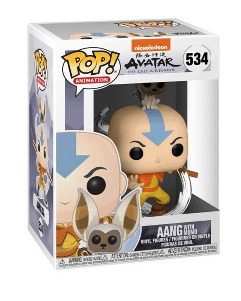 Funko POP Animation - Avatar The Last Airbender - Aang with Momo caixa