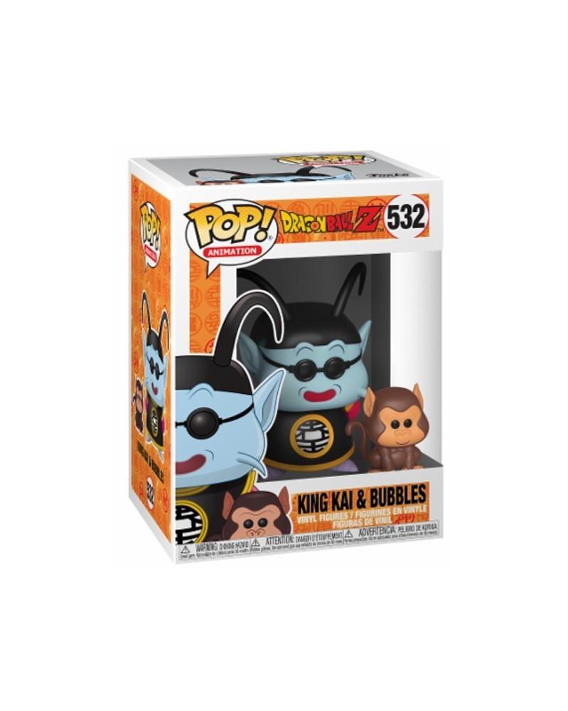 Funko POP Anime Dragonball Z - King Kai e Bubbles, caixa