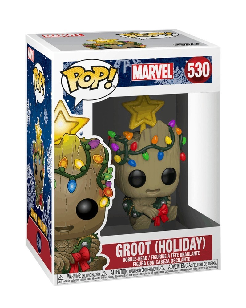 Funko POP Marvel - Groot (Holiday), caixa